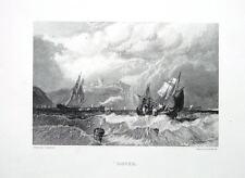 Dover, Harbour, Bianche Scogliere, Castle & Navi, EDWARD FINDEN antica stampa c1840