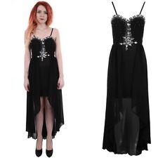 Ladies Strap Diamante Padded Pleated Boobtube Fishtail High Low Women's Dress