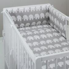 2-10 Pcs Baby Nursery Bedding Set 120x90/135x100/150x120 White Elephants on Grey