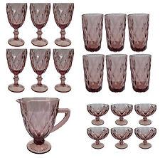 Vintage Weinglas Glas Gläser Weingläser Eisbecher Wasserglas  Wasserkug lila