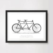 TANDEM BIKE ART PRINT POSTER Vintage Drawing Wall Chart Diagram Bicycle Design