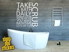 Bathroom wall sticker decal take a bath daily scrub quote art funny