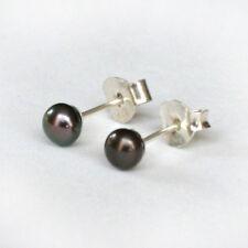 Solid Sterling 925 Silver Black Dark Metallic Freshwater Pearl Stud Earrings