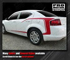 Dodge Avenger 2008-2014 Rear Quarter Side C Stripes Decals (Choose Color)