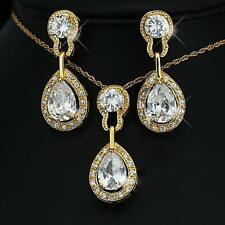 Luxus Set Kette Ohrringe Zirkonia weiß 750er Gold 18 Karat vergoldet S1780