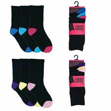 Premium 6x 12x Womens Ladies Girls Socks Plain Coloured Heel Soft Ankle Socks