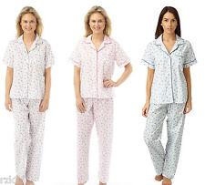 Ladies Floral Print Pyjamas, Short Sleeve Top & Pants Nightwear, MN14 Size 10-30