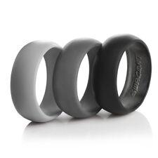Rubber Sport Comfortable Black Grey Set Wedding Ring Men Silicone Bands 3 Pack
