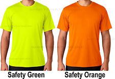 Hanes Mens Safety Green Orange Moisture Wicking 50+ UV Run Work T-Shirt XS-3XL