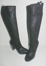 Donald Pliner Chenia Black Alligator Croc Trim/Suede Knee High Boots 7 , 8.5