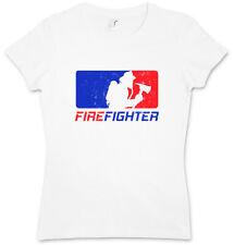 FIREFIGHTER DAMEN T-SHIRT Fire Brigade Axe Helmet Department Dept Feuerwehr