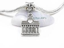 3D Silver Tone Berlin Brandenburg Gate Slide Dangle Charm fits European Bracelet