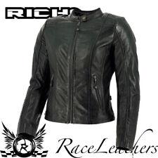 Richa Lausanne schwarz Damen Retro Leder Motorrad Motorrad Jacke