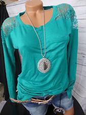 Laura Scott Viskose Shirt Gr. 36/38 - 44/46 Petrol Spitzeneinsätzen (903) NEU