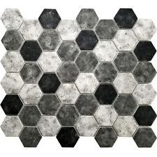 Black Grey Hexagon Pattern Recycled Glass Mosaic Tile Kitchen Shower Backsplash