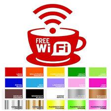 FREE WIFI Coffee Tea Cups Internet Cafe Bar Club Shop Window Wall Decal Sticker