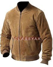 Classyak Men's Brown Fashion Genuine Suede Leather Bomber Jacket - Xs-5xl