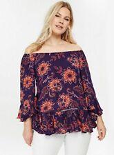 Evans Purple Flamenco Sleeve Bardot Tunic Top - Sizes 18,24,26,28