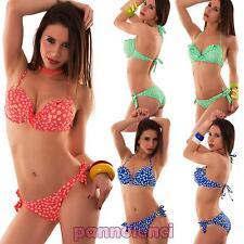 Bikini donna costume da bagno mare push up ruches pois due pezzi nuovo B4007
