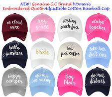 NEW! Genuine C.C Women's Embroidered Quote Cap Adjustable Cotton Baseball CC Cap