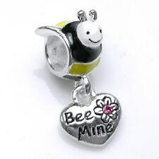 Sterling Silver Enamel Honey Bee Heart CZ Dangle for European Charm Bracelets