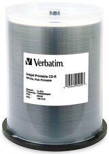 100-Pak VERBATIM =WHITE INKJET HUB= 52X 80-Minute CDR's, Verbatim 95252