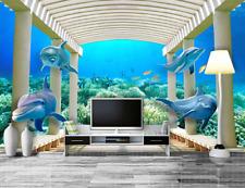 3D Sea Dolphin 602 Wallpaper Murals Wall Print Wallpaper Mural AJ WALL AU Lemon