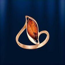 Russische Rose Rotgold 585 Ring  mit baltischem Bernstein Neu Glänzend.