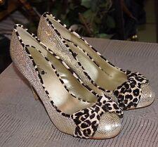 Timeless Gold Evita High Heeled Court Shoes