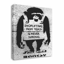 Tesco Shoplifter Monkey - Banksy Canvas Wall Art Picture Print