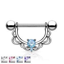 "Pair of CZ Centered Fligree Drop Surgical Steel Nipple Rings Barbells 14G 5/8"""