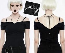 Top haut Tshirt épaule nue gothique punk lolita fashion lien crucifix PunkRave N