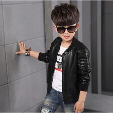 Fashion Boys Outerwear Faux Leather Jackets Brown Black Kids Jacket Coat Popular