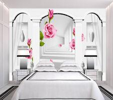 Eine rote Blume Pavillon 3D Voll Wandgemälde Foto Tapete Drucken Zuhause Dekorat