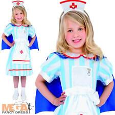 Vintage Nurse Girls Fancy Dress Uniform Childrens Kids Costume + Hat Ages 4-9 Y