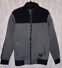 MARC ECKO Cut & Sew Fleece Dark Grey Black Full Zip Bomber Jacket NEW Mens Sz M