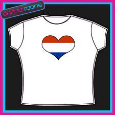 OLANDA DUTCH EMBLEMA bandiera a forma di CUORE I LOVE T-SHIRT