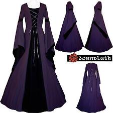 Moyen Âge Carnaval Gothik Chasuble Robe Costume Johanna VIOLET-NOIR xs-60