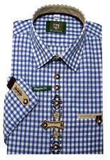 Orbis Trachtenhemd blau-weiß kariert +Stickerei Krempelarm OS-0251 Regular Fit
