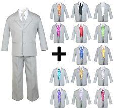 7pcs Baby Toddler Boys Kids Teen Wedding Formal Tuxedo Suits Light Gray sz S-20