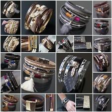 VA29# Armband Hippie Leder-Look Magnetverschluss Vintage Ibiza Boho Wickellook