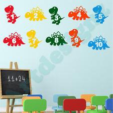 DINOSAUR Wall Sticker Learning Numbers Girls Boys Bedroom Nursery Vinyl Decal
