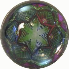 "Crystal Dome Button Kaleidoscope green purple 1"""