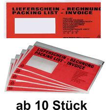 Lieferschein Rechnung Versandtasche ab 10 Stück DIN Lang rot selbstklebebend TOP