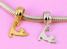 Sterling Silver CAT Kitten Charm Bead Pendant Rhodium /Vermeil Gold Fit Bracelet