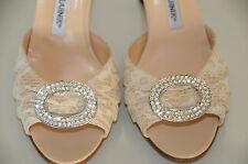 $785 New MANOLO BLAHNIK SEDARABY Beige Lace Nude Silver Jeweled SHOES wedding 38