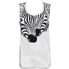 OFFICIAL Zoo Project Ibiza: Zebra print Womens Vest Tank top Black White RRP £45