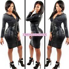 New Sexy Black Long Sleeve tish Dominatrix Bandage Clubwear PVC Front Zip Dress
