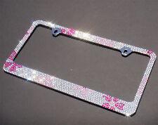 Pink Flower Diamond Rhinestones License Plate Frame/D4