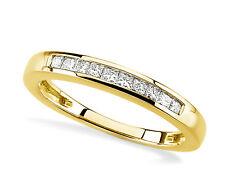 Pretty! 10K Yellow Gold Princess-Cut White Diamond Anniversary Ring Band .19ct